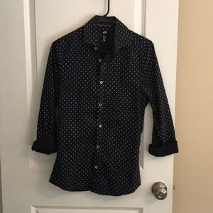 H&M XS Navy Blue Button-Down